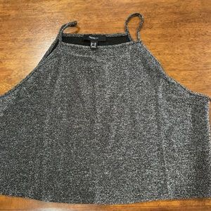 Forever 21 Metallic Silver Plus Crop Top Stretchy